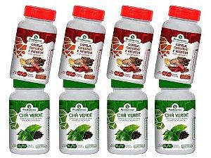 Emagrecer com Saúde Chá Verde E Termogenico Cápsulas Kit 8