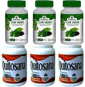 3 Cha Verde Concentrado + 3 Quitosana Bloqueador Gorduras