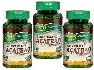 Cúrcuma - Açafrão + Cenoura, Urucum e Beterraba 180 capsulas 500 mg
