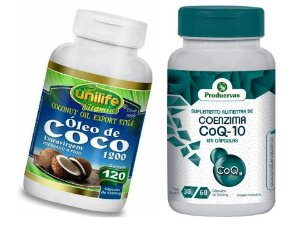 Coenzima Q10 Ubiquinona e Óleo de Coco Energia em Dobro 2P