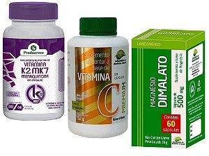 Vitamina K2 + Mag. Dimalato + Vita C Cardio Óssea e Muscular 3P