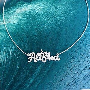 Colar Aloha com Flor de Hibisco  - Prata 950/925