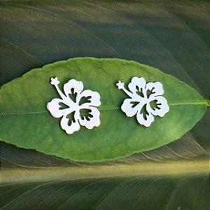 Brincos Flor de Hibisco - Prata 950