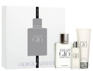 KIT ACQUA DI GIÒ GIORGIO ARMANI MASCULINO - EAU DE TOILETTE 100ML + GEL DE BANHO 75ML + TRAVEL SIZE 15ML