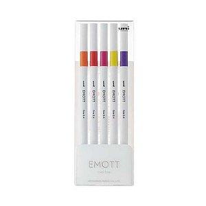 Caneta Emott Nº 2 Estojo c 5 cores sortidas Laran/Verm/Rosa/Amarelo/Roxo