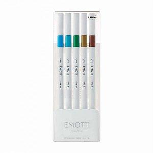 Caneta Emott nº4 - Estojo com 5 cores sortidas Azul/Verde/Amarelo/Marrom