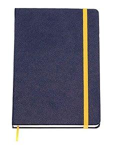 Caderneta Classica Pautada Marinho e Amarelo 9x13