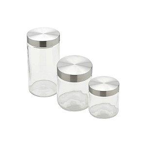 Conjunto Porta Mantimentos 3 Peças de Vidro Tampa em Aço - Bon Gourmet
