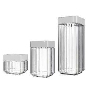 Conjunto c/ 3 Potes de Vidro Stylo / Porta Mantimentos