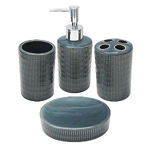 Jogo de Banheiro 4 Peças em Porcelana Saboneteira / Porta Sabonete Liquido