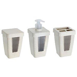 Jogo de Banheiro 3 Peças de Plástico Porta Sabonete Liquido / Porta Algodão e Cotonete