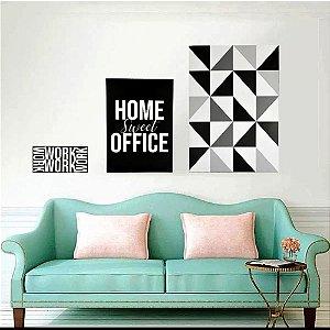 Conjunto de 3 Quadros Decorativos Home Sweet Preto e Branco