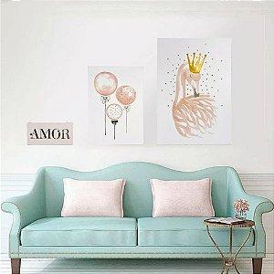 Conjunto de 3 Quadros Decorativos Amor Rosa e Preto