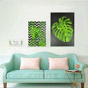 Conjunto de 3 Quadros Decorativos Deixe a Vida Mais Leve Estampa de Plantas