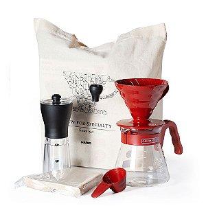 Kit V60 Vermelho com Moinho de Café Manual Slim – Hario