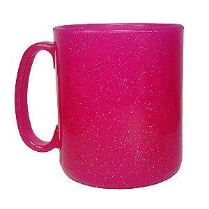 Caneca Plástica Gliter Rosa - 400ml