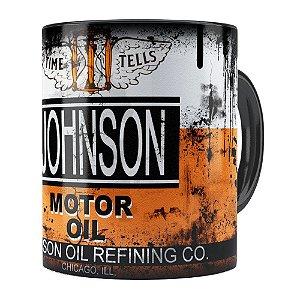 Caneca Lata de Óleo Retrô Oil Johnson Preta