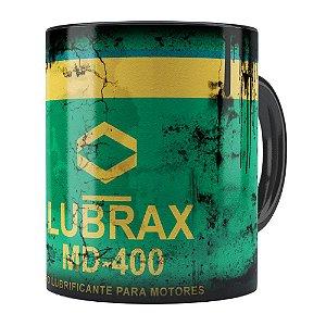 Caneca Lata de Óleo Retrô Oil Lubrax v01 Preta