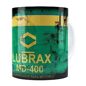 Caneca Lata de Óleo Retrô Oil Lubrax v01 Branca