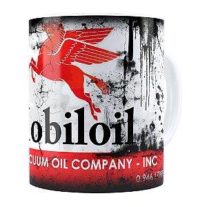 Caneca Lata de Óleo Retrô Oil Mobiloil Branca