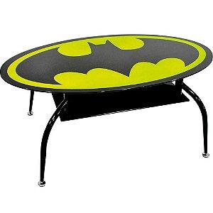 Mesa de Centro Batman Oval Metal e Vidro 110x60cm