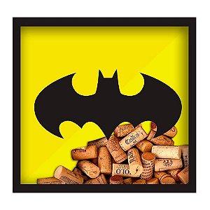 Quadro Rolha Batman Logo em Madeira 33x33cm