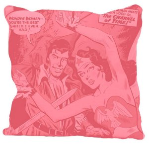 Capa para Almofada Wonder Woman Retro Rosa 45x45cm