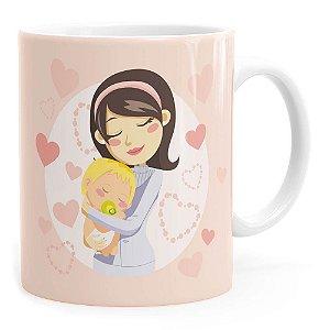 Caneca Parabéns Mamãe Branca
