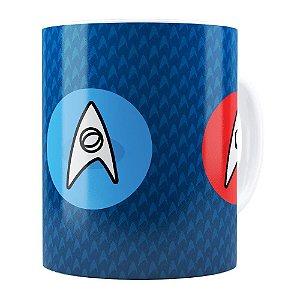 Caneca Star Trek Logos Comando, Engenharia e Ciência Branca