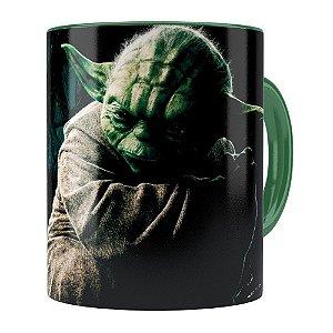 Caneca Star Wars Mestre Yoda v03 Verde Escuro
