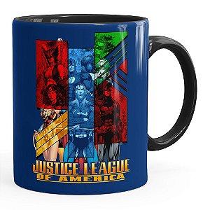 Caneca Liga da Justiça v01 Porcelana Preta