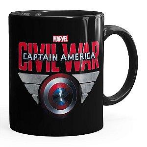 Caneca Capitão América Guerra Civil Shield Preta