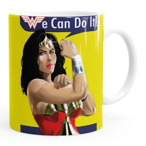 Caneca Mulher Maravilha We Can Do It! Branca