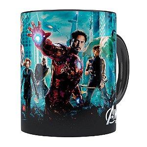 Caneca Os Vingadores (Avengers) v04 Preta