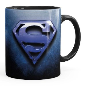 Caneca Superman Logo Metálico Preta