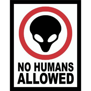 Placa Decorativa No Humans Allowed 039
