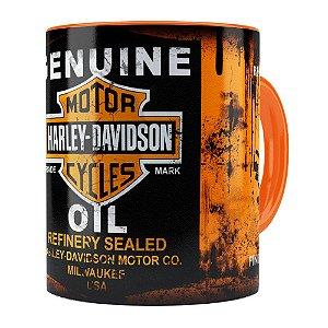 Caneca Lata de Óleo Retrô Oil Harley Davidson Laranja