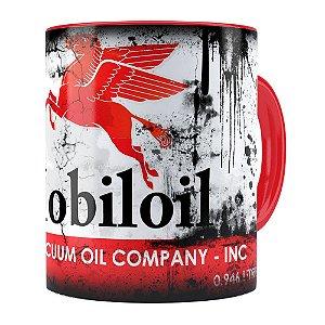 Caneca Lata de Óleo Retrô Oil Mobiloil Vermelha