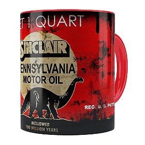 Caneca Lata de Óleo Retrô Oil Sinclair Vermelha