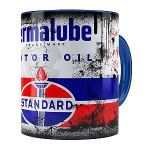 Caneca Lata de Óleo Retrô Oil Standard Azul Marinho