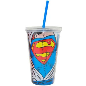 Copo Superman Opening Shirt 300ml Tampa e Canudo