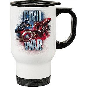Caneca Térmica Civil War Capitão América e Iron Man Branca