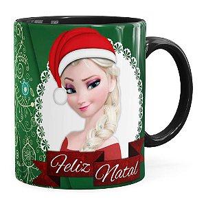 Caneca Feliz Natal Frozen Anna e Elza v01 Preta