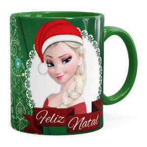 Caneca Feliz Natal Frozen Anna e Elza v01 Verde