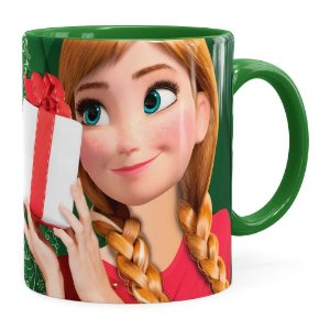 Caneca Feliz Natal Frozen Anna v02 Verde