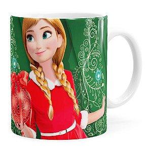 Caneca Feliz Natal Frozen Anna v03 Branca