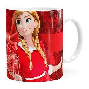 Caneca Feliz Natal Frozen Anna v04 Branca