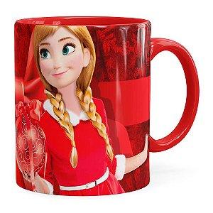 Caneca Feliz Natal Frozen Anna v04 Vermelha