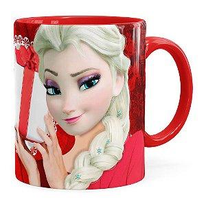 Caneca Feliz Natal Frozen Elsa v01 Vermelha