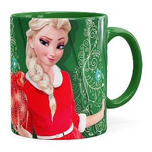 Caneca Feliz Natal Frozen Elsa v04 Verde